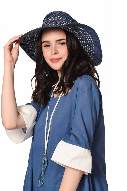 حقيبة الشاطئ وقبعة مجموعة (النيلي)