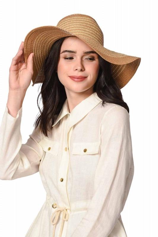 Plaj Çanta Şapka Takımı (Taba)
