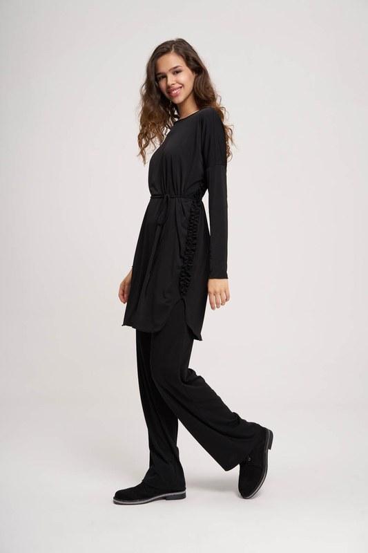 Pleated Fabric Tunic (Black)