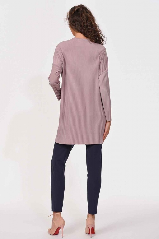 Pleated Pocket Detailed Blouse (Powder)
