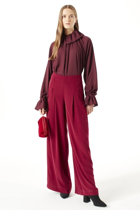 Pleated Trousers (Claret Red)