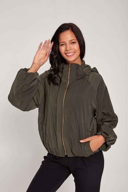 Plush-Lined Short Jacket (Khaki)