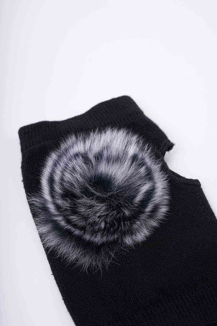 Ponpon Detaylı Eldiven (Siyah) - Thumbnail