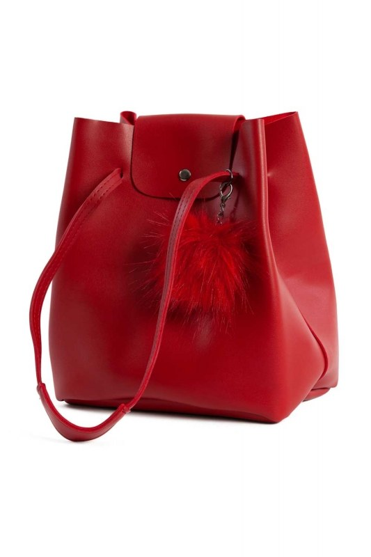 Pompon Detailed Square Shoulder Bag (Red)