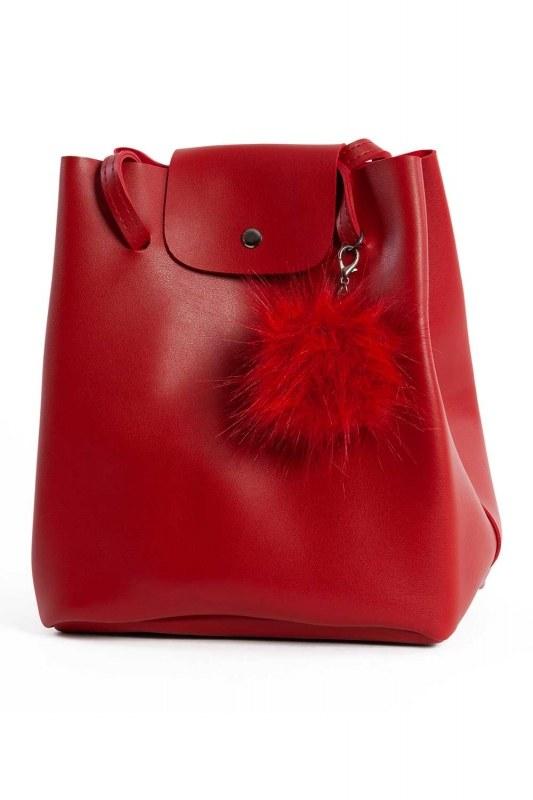 Pompon Detailed Square Shoulder Bag (Red)