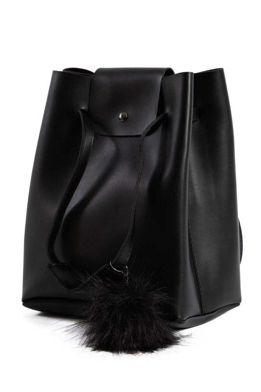 Pompon Detailed Square Shoulder Bag (Black)