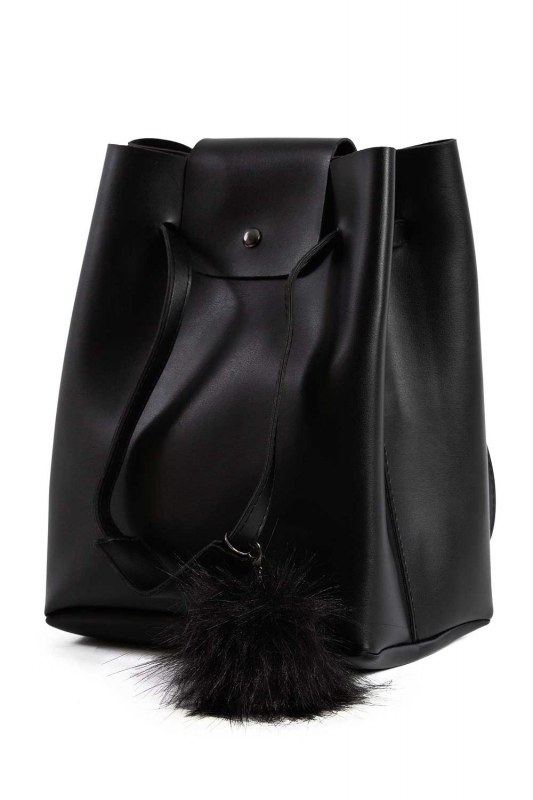 Pompon Detailed Square Shoulder Bag (Black)