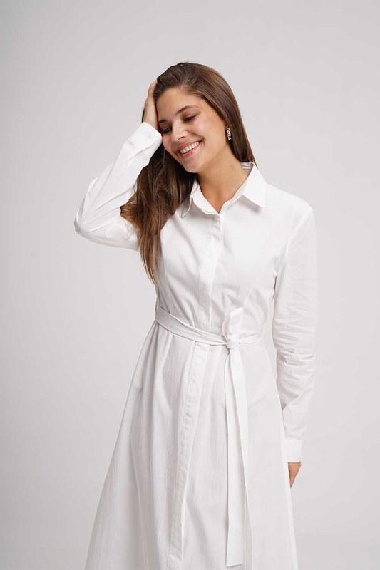 Poplin Maxi Gömlek Elbise (Ekru)