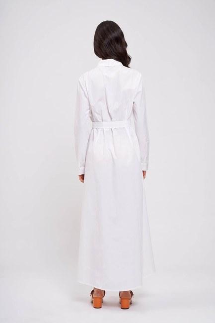 Poplin Maxi Gömlek Elbise (Ekru) - Thumbnail