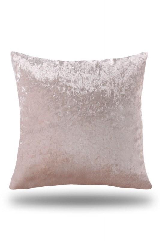 غطاء وسادة مخملي بلون وردي (35X60)
