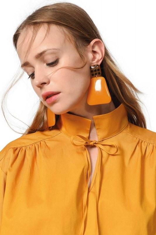 Polka Dot Detailed Earrings (Brown)