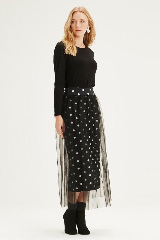 Spot Tulle Skirt (Black)