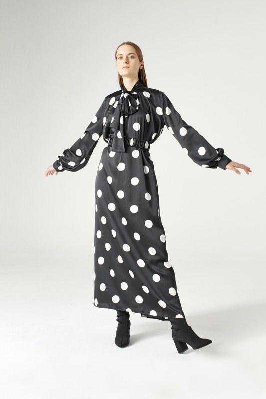 فستان منقط (أسود)