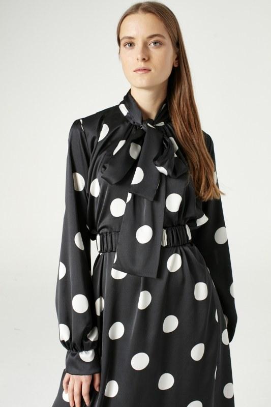 Puantiyeli Elbise (Siyah)