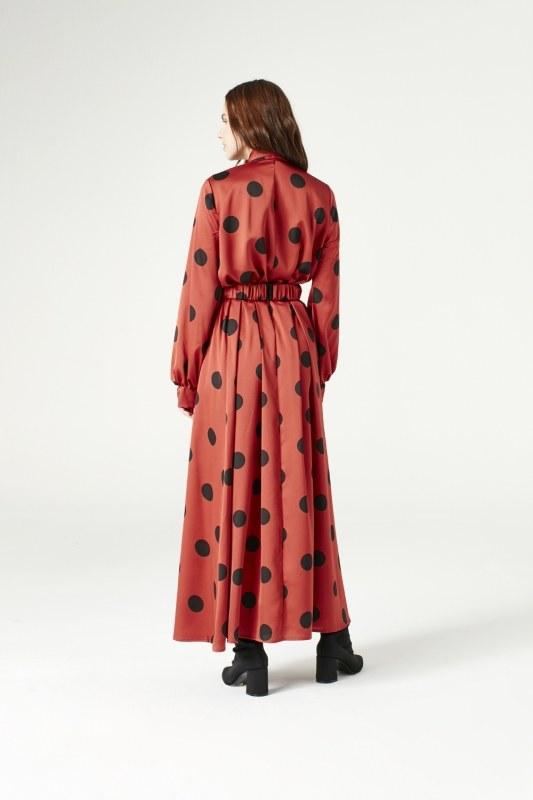 Puantiyeli Elbise (Taba)