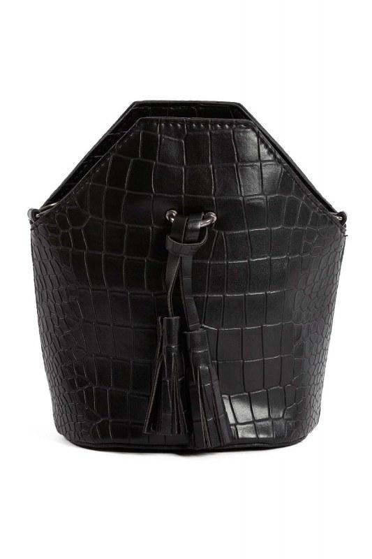 شرابة مفصلة ، مسامية ، حقيبة يد نسائية (أسود)