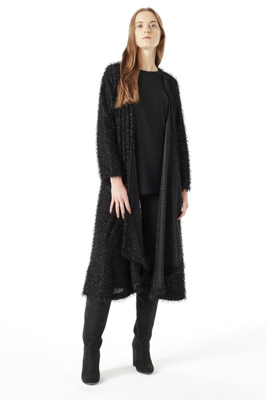 Tasseled Long Luxury Cardigan (Black)