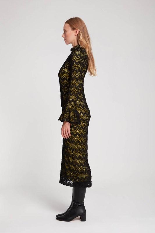 Renk Detaylı Dantel Elbise (F.Yeşil)