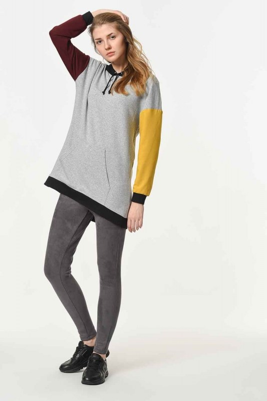 Color Piece Hooded Sweatshirt (Mix)