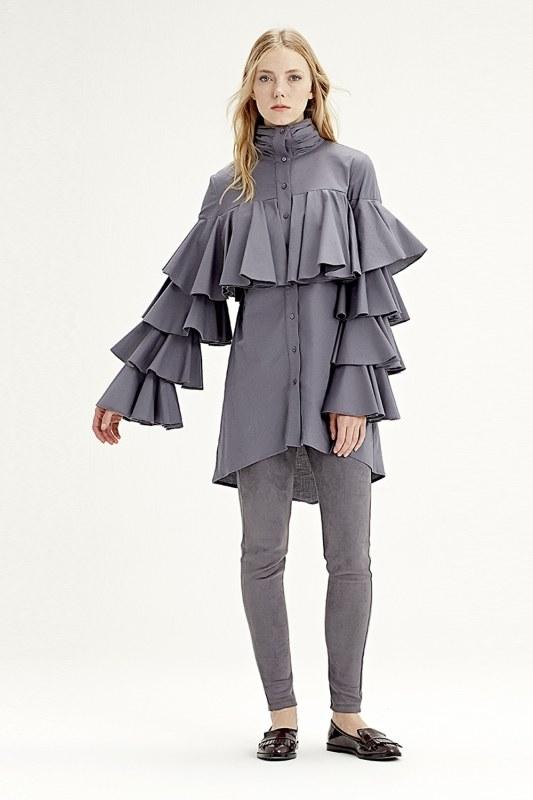 Ruffle Shirt (Grey)