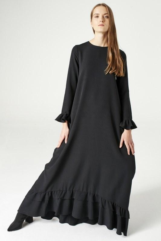 فستان مكشكش (أسود)