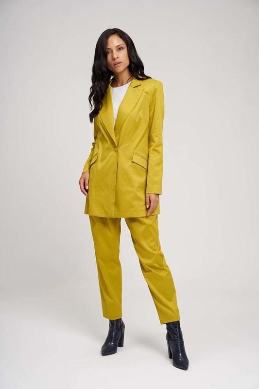 Saten Tasarım Uzun Ceket (Safran)