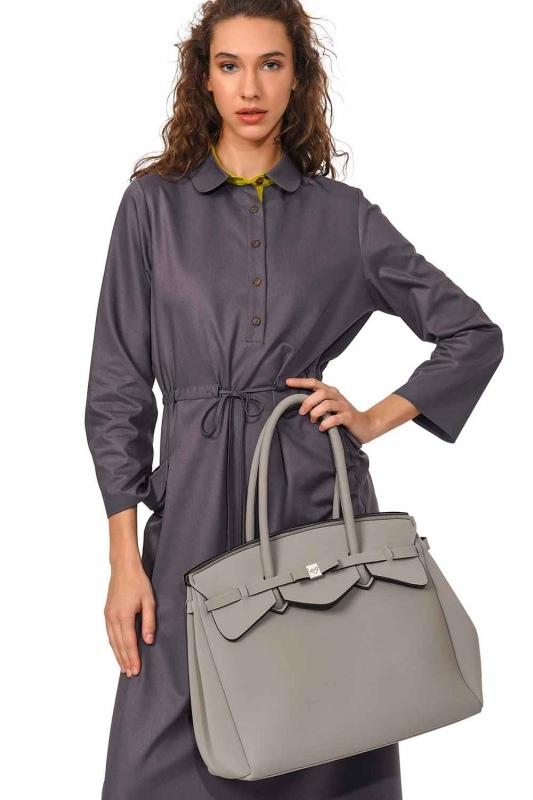 Large Fabric Shoulder Bag (Grey)