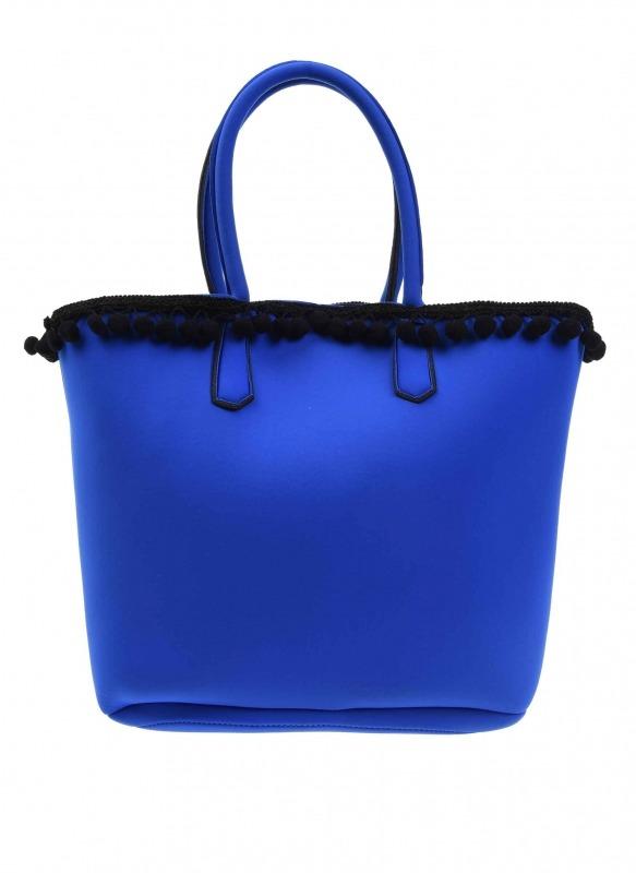 Scuba Kumaş Ponpon Detaylı Çanta (Saks Mavisi)
