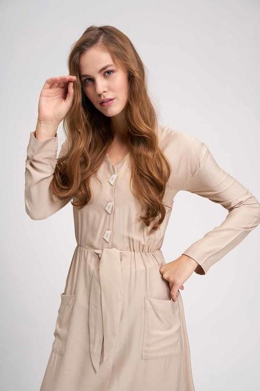 فستان فسكوز طويل (بيج)
