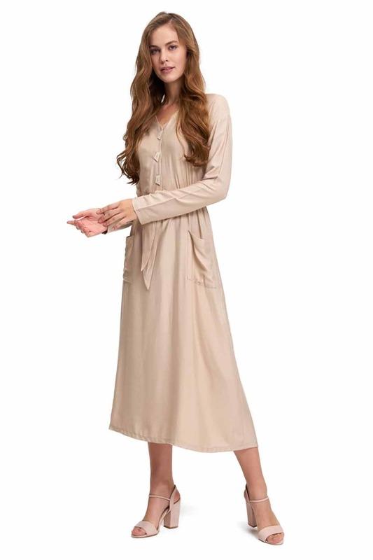 Sedef Düğmeli Viskon Uzun Elbise (Bej)