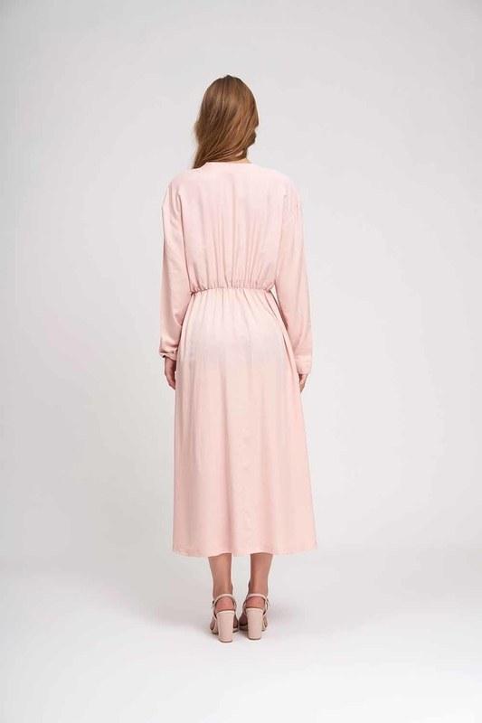 Sedef Düğmeli Viskon Uzun Elbise (Pudra)