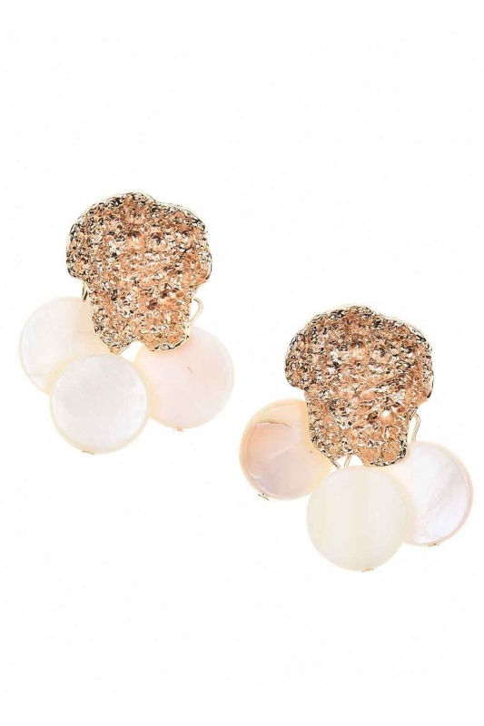 Pearlescent-Looking Stone Earrings (St)