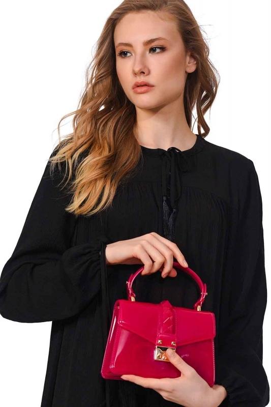 حقيبة يد شفافة لينة (الوردي)