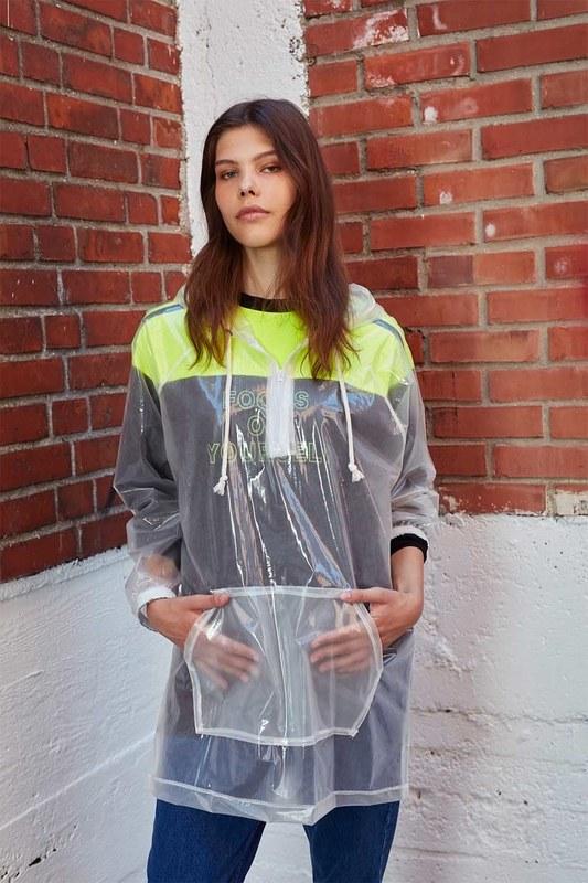 معطف مطر شفاف(شفاف)