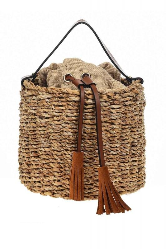 سترو حقيبة يد في شكل سلة (البيج)