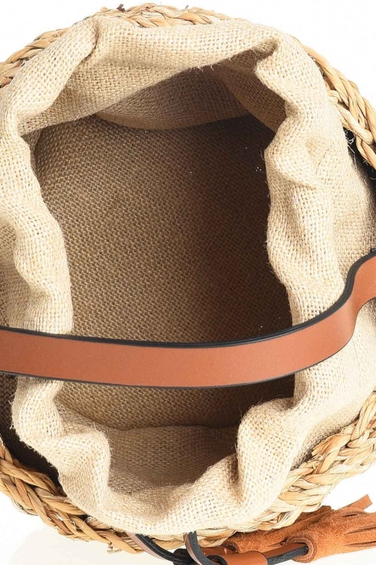 Basket Type Wicker Hand Bag (Beige)