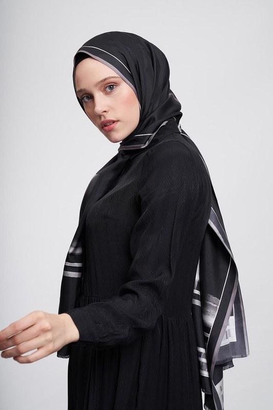 Şerit Desenli Şal (Siyah)