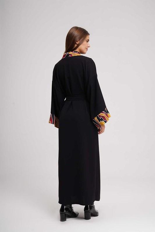Stripe Patterned Long Kimono (Black)