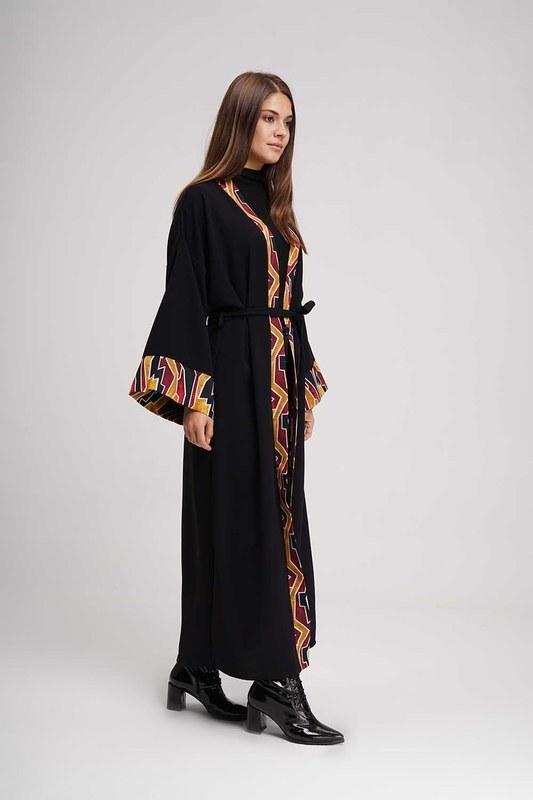 Şerit Desenli Uzun Kimono (Siyah)