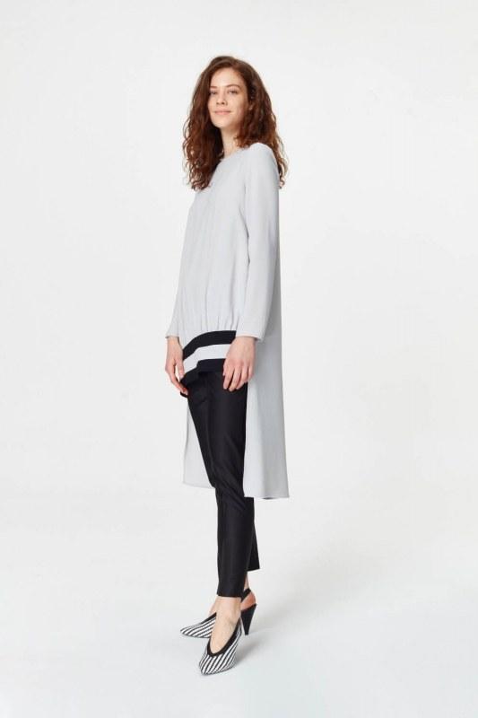 فستان تونك مع شريط مقلم وظهر طويل (رمادي)