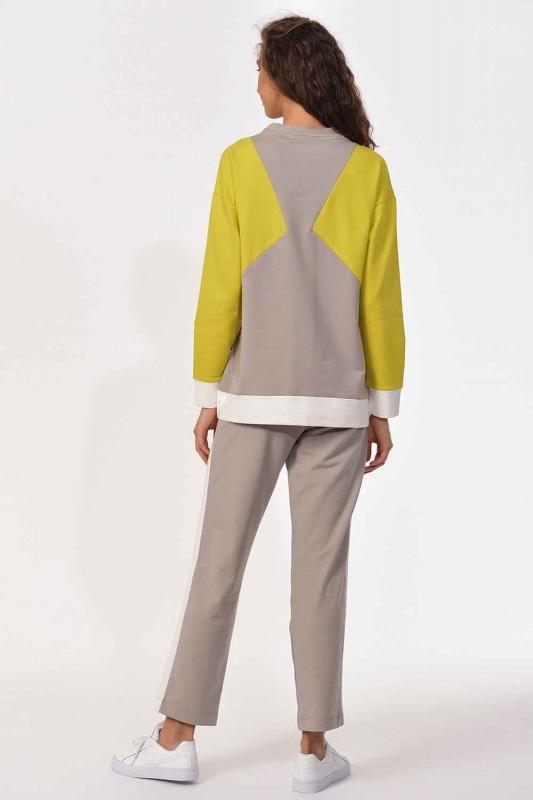 Stripe Detailed Sweatshirt (Green/Ecru)