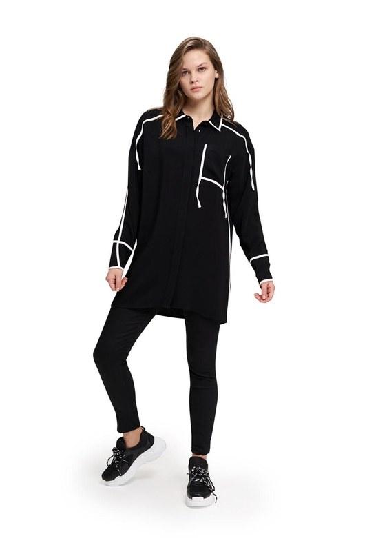 Şerit Detaylı Tunik (Siyah)