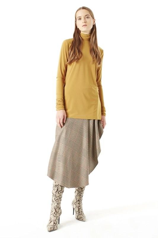 Shirring-Collar Blouse (Camel)