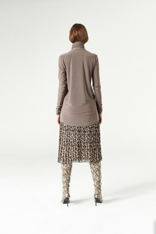 Shirring-Collar Blouse (Mink)