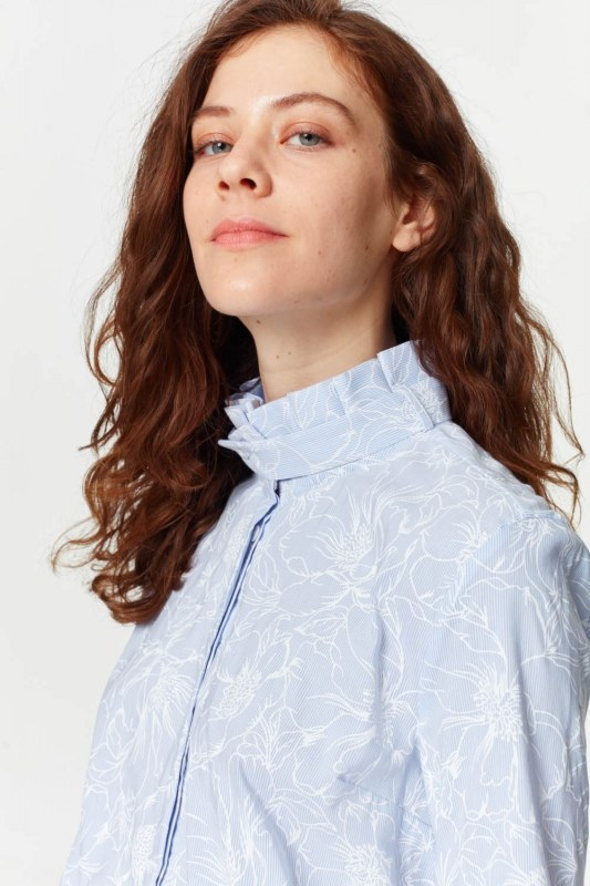 Shirt With Collar Pleated (Blue)