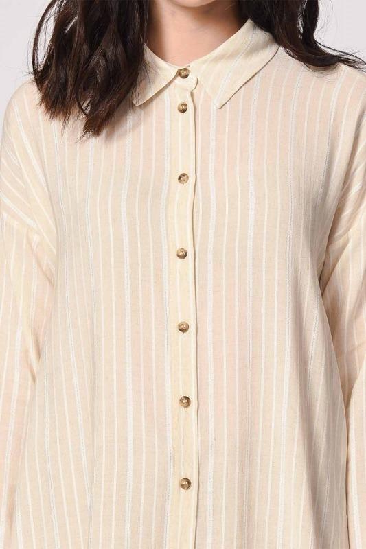Sim Çizgili Keten Gömlek Bluz (Ekru)