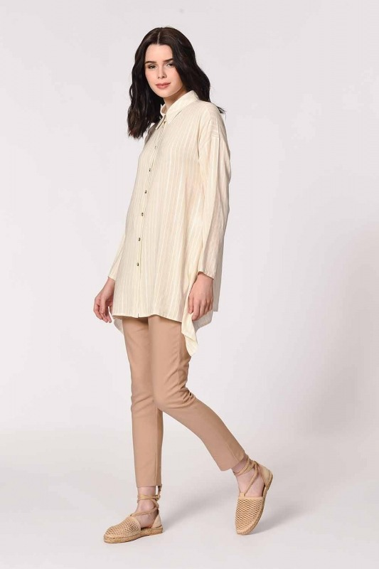 Sim Striped Linen Shirt Blouse (Ecru)