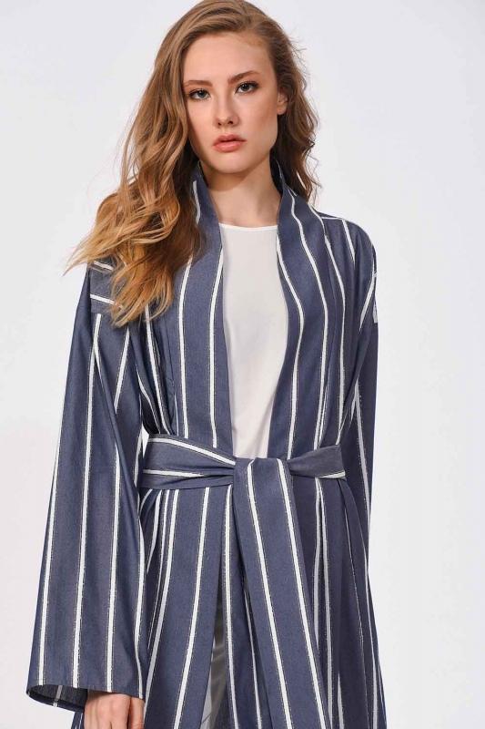 Sim Çizgili Kimono (Lacivert)