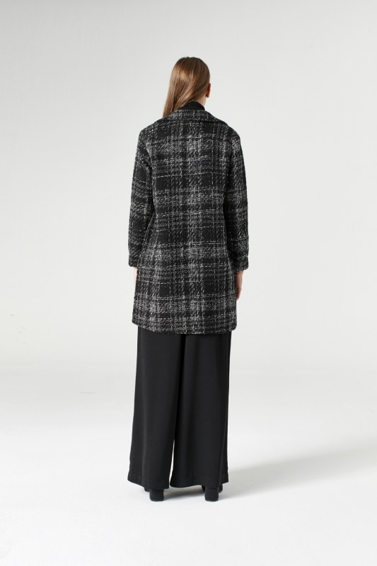Silvery Plaid Long Jacket (Grey)