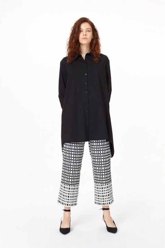 Garni Detailed Tunic Shirt (Black)